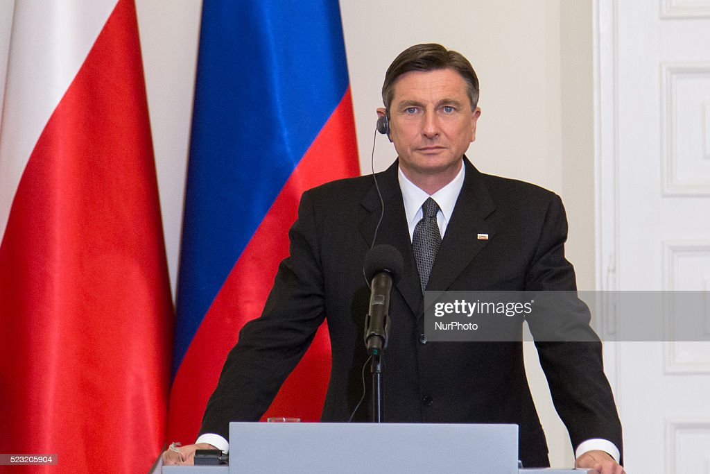 President of Slovenia Borut Pahor during press conference with Polish President Andrzej Duda at Presidential Palace in Warsaw Poland 22 April 2016