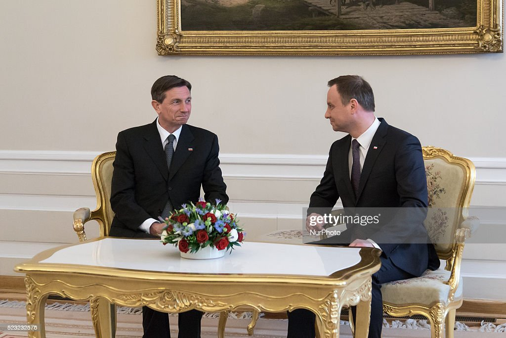 President of Slovenia Borut Pahor meets with President of Poland Andrzej Duda at Presidential Palace in Warsaw Poland 22 April 2016