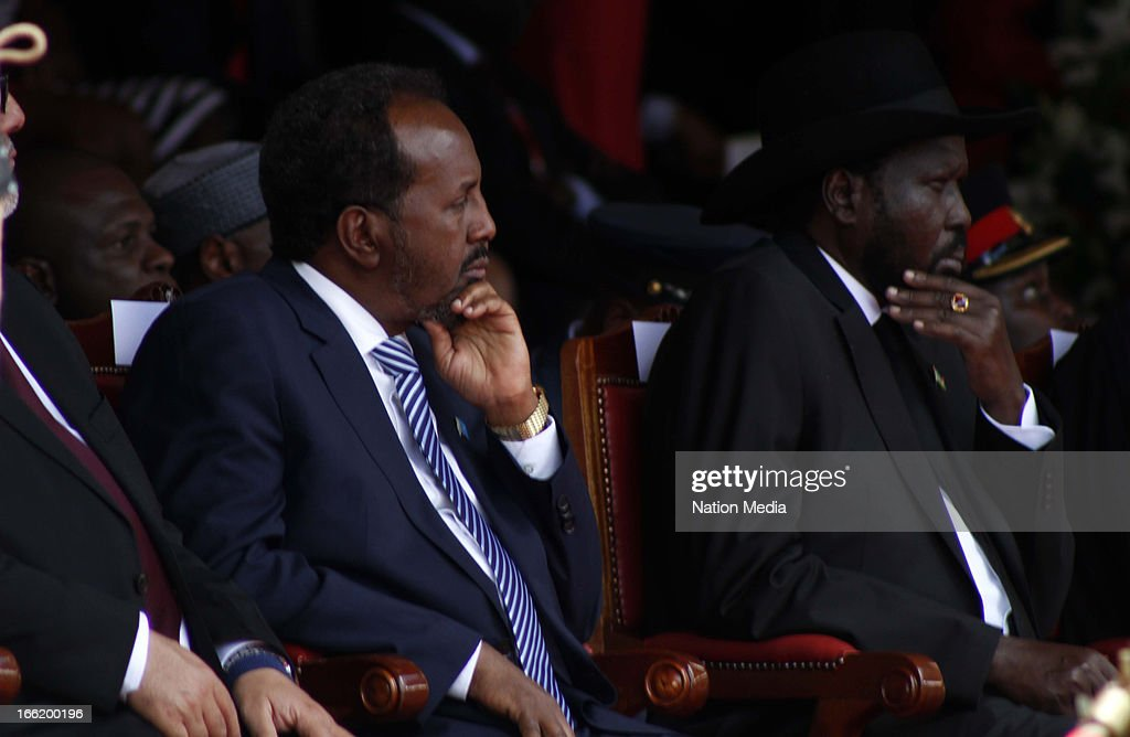 President of Somalia Hassan Sheikh Mohamud and President of South Sudan Salva Kiir Mayardit during the swearing in of Kenya's 4th President Uhuru Kenyatta into office on April 9, 2013 in Nairobi, Kenya. Kenyatta received masses of support from the citizens of Kenya despite being under investigation for crimes against humanity.