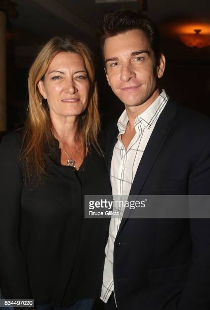 President of Sony Theatricals Lia Vollack and Andy Karl pose at the Broadway Wall of Fame unveiling to honor Andy Karl for his role in 'Groundhog...
