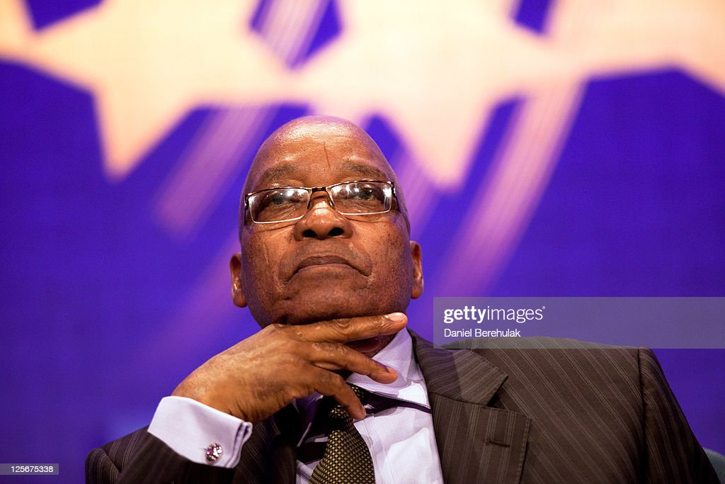 President of South Africa Jacob Zuma looks on during the opening plenary, called Leaders Dialogue on Climate Change, of the seventh annual meeting of the Clinton Global Initiative (CGI) at the Sheraton New York Hotel on September 20, 2011 in New York City. Established in 2005 by former U.S. President Bill Clinton, the CGI assembles global leaders to develop and implement solutions to some of the world's most urgent problems.