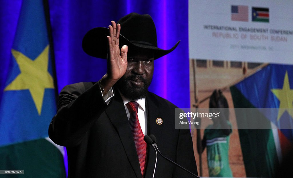 President of South Sudan <a gi-track='captionPersonalityLinkClicked' href=/galleries/search?phrase=Salva+Kiir+Mayardit&family=editorial&specificpeople=2629283 ng-click='$event.stopPropagation()'>Salva Kiir Mayardit</a> waves during the South Sudan International Engagement Conference December 14, 2011 at the Marriott Wardman Park Hotel in Washington, DC. The two-day conference was to highlight the national development vision of South Sudan and the opportunities for investment in the country.