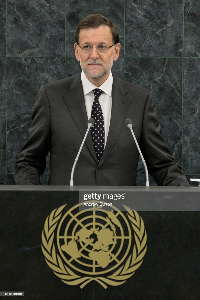 President of Spain <a gi-track='captionPersonalityLinkClicked' href=/galleries/search?phrase=Mariano+Rajoy+Brey&family=editorial&specificpeople=551714 ng-click='$event.stopPropagation()'>Mariano Rajoy Brey</a> speaks at the 68th United Nations General Assembly on September 25, 2013 in New York City. Over 120 prime ministers, presidents and monarchs are gathering this week for the annual meeting at the temporary General Assembly Hall at the U.N. headquarters while the General Assembly Building is closed for renovations.