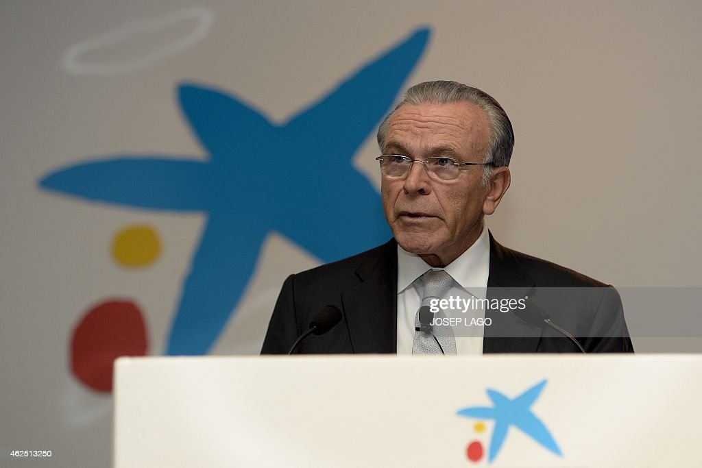 President of Spain's biggest savings bank La Caixa, Isidre Faine, gives a press conference announcing the 2014 year results on January 30, 2015 in Barcelona.