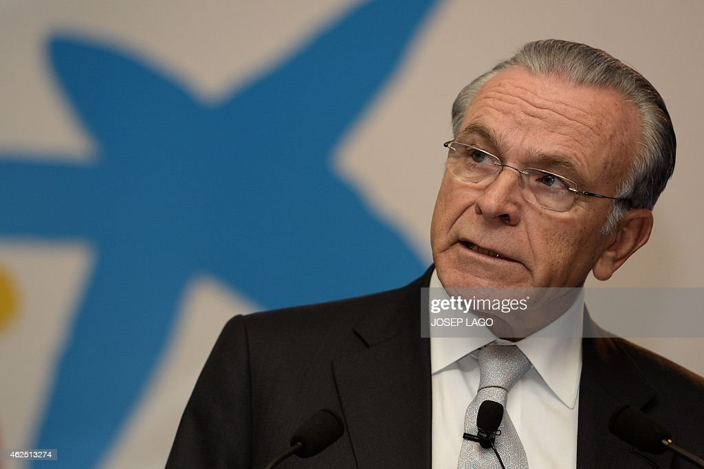President of Spain's biggest savings bank La Caixa, Isidre Faine, gives a press conference announcing the 2014 year results on January 30, 2015 in Barcelona. AFP PHOTO/JOSEP LAGO