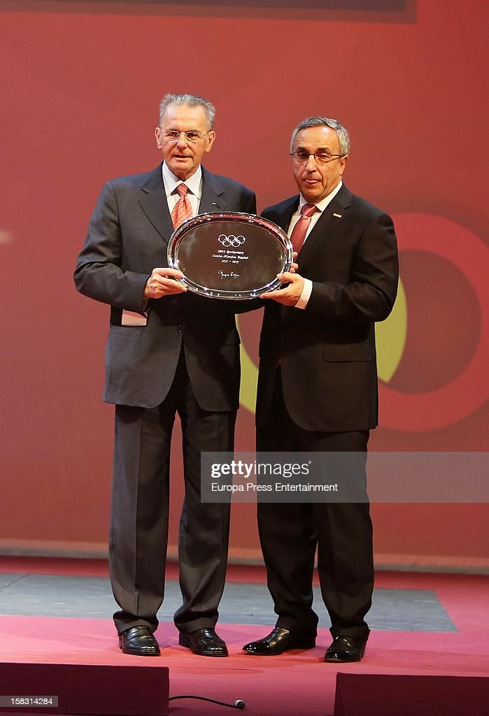 President of Spain's Olympic Committee Alejandro Blanco (R) and International Olympic Committee (CIO) President Jaques Rogge attend Spanish Olympic Commitee Centenary Gala at El Canal Theatre on December 12, 2012 in Madrid, Spain.