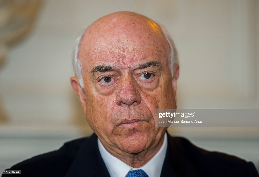 President of Spanish bank BBVA Francisco Gonzalez reacts during a press conference at the International Menendez Pelayo University on June 15 2015 in...