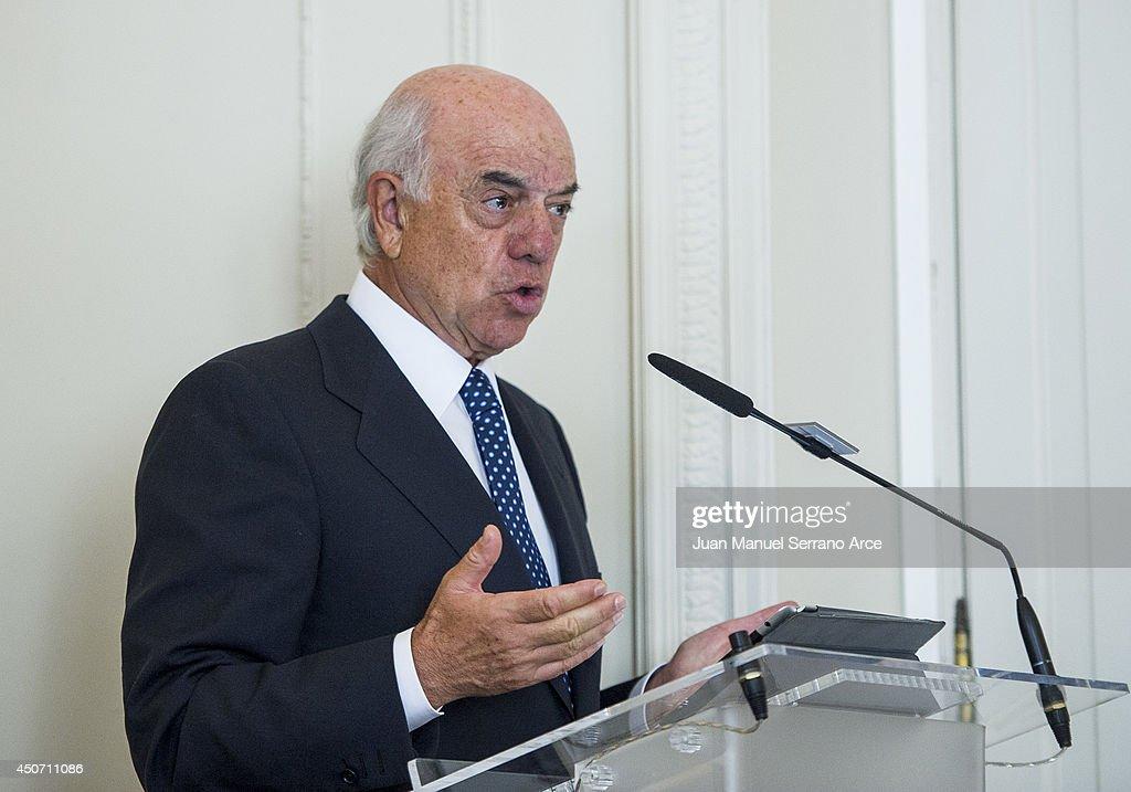 President of Spanish bank BBVA Francisco Gonzalez speaks during a press conference at the International Menendez Pelayo University on June 16 2014 in...