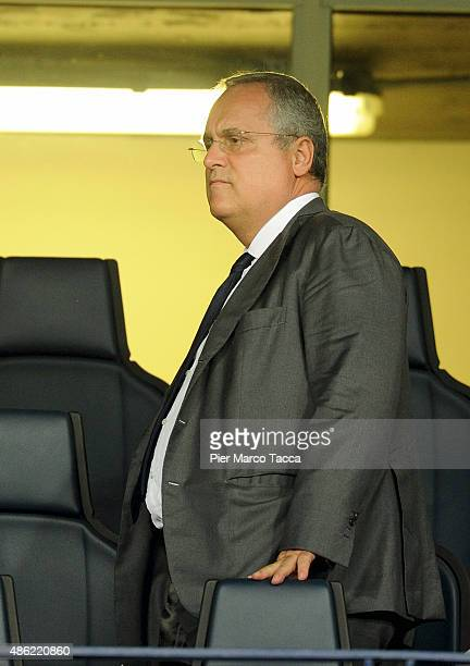 President of SS Lazio Claudio Lotito looks during the Serie A match between AC Chievo Verona and SS Lazio at Stadio Marc'Antonio Bentegodi on August...