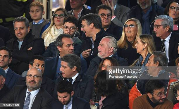 President of SSC Napoli Aurelio De Laurentiis looks on prior to the UEFA Champions League group F match between SSC Napoli and Manchester City at...