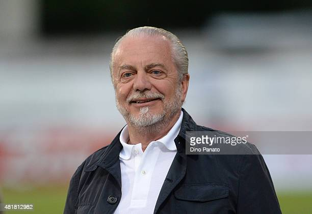 President of SSC Napoli Aurelio De Laurentis looks on during the preseason frienldy match between SSC Napoli and Feralpi Salo at Stadio Briamasco on...