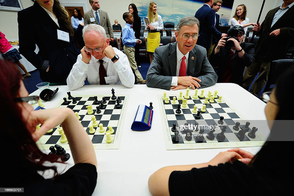 President of St. Louis Chess Club Rex Sinquefield and Rep. Blaine Luetkemeyer (R-MO) attend a special event held at United States Capitol Building on April 18, 2013 in Washington, DC.