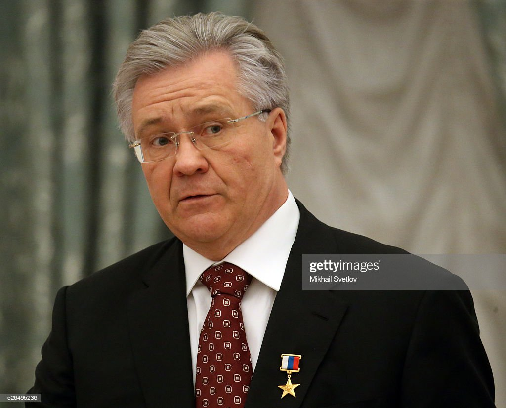 President of Surgutneftegas Vladimir Bogdanov looks on during the awarding ceremony at the Kremlin April, 30, 2016 in Moscow, Russia. Putin presented Hero of Labour medals to five winners. The awards were given to Russians who made a considerable contribution to the country's social and economic development, including development of culture, education, industry and agriculture.