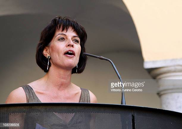 President of Switzerland Doris Leuthard speaks during the 63rd Locarno Film Festival Opening Cocktail on August 4 2010 in Locarno Switzerland