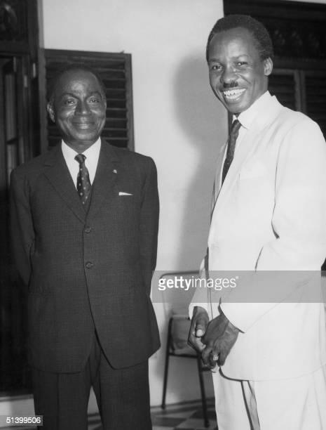President of Tanganyika and Zanzibar future Tanzania Dr Julius Nyerere and the first President of Ivory Coast Felix Houphouet smile prior their...