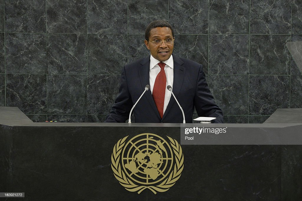 President of Tanzania <a gi-track='captionPersonalityLinkClicked' href=/galleries/search?phrase=Jakaya+Kikwete&family=editorial&specificpeople=547422 ng-click='$event.stopPropagation()'>Jakaya Kikwete</a> speaks during the 68th United Nations General Assembly at U.N. headquarters on September 27, 2013 in New York City. Over 120 prime ministers, presidents and monarchs are gathering this week for the annual meeting at the temporary General Assembly Hall at the U.N. headquarters while the General Assembly Building is closed for renovations.