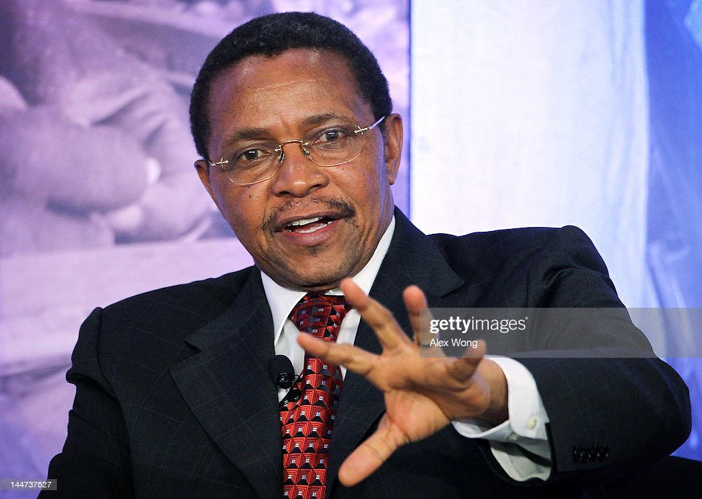 President of Tanzania <a gi-track='captionPersonalityLinkClicked' href=/galleries/search?phrase=Jakaya+Kikwete&family=editorial&specificpeople=547422 ng-click='$event.stopPropagation()'>Jakaya Kikwete</a> speaks during the Symposium on Global Agriculture and Food Security May 18, 2012 at the Ronald Reagan Building in Washington, DC. The symposium, hosted by the Chicago Council on Global Affairs, in collaboration with the World Economic Forum, was to discuss new activities to advance global agricultural development, food and nutrition security in Africa.