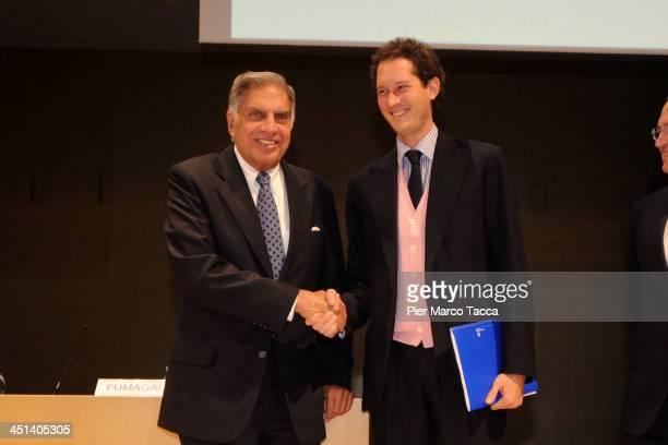 President of Tata Group Ratan Tata and President of FIAT Group John Elkann attends Lecito Inauguralis at Bocconi University on November 22 2013 in...