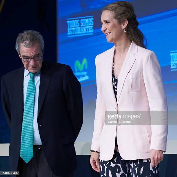President of Telefonica Foundation Cesar Alierta and Princess Elena of Spain attend 'Todos Somos Estudiantes' Movistar awards at the Telefonica...