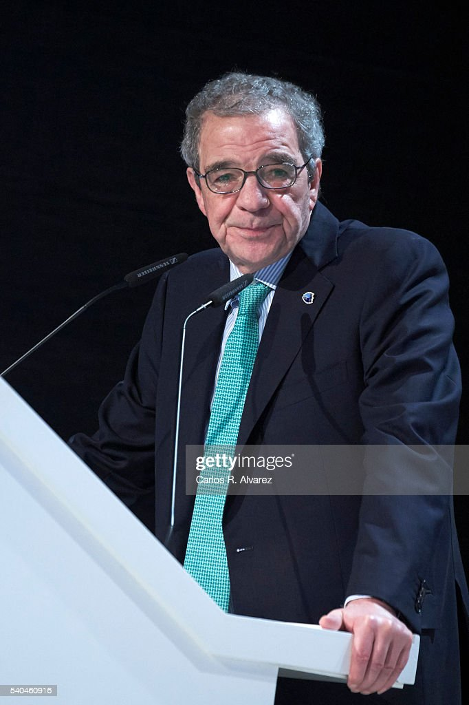 President of Telefonica Foundation <a gi-track='captionPersonalityLinkClicked' href=/galleries/search?phrase=Cesar+Alierta&family=editorial&specificpeople=682663 ng-click='$event.stopPropagation()'>Cesar Alierta</a> attends 'Todos Somos Estudiantes' Movistar awards at the Telefonica Auditorium on June 15, 2016 in Madrid, Spain.