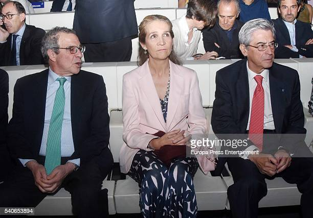 President of Telefonica Foundation Cesar Alierta Princess Elena of Spain and Miguel Angel Bufala attend 'Todos Somos Estudiantes' Movistar awards at...