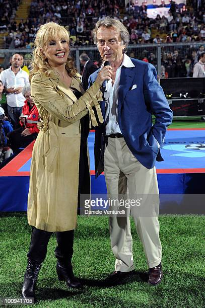 President of Telethon Luca Cordero di Montezemolo and Milly Carlucci attend the XIX Partita Del Cuore charity football game at on May 25 2010 in...