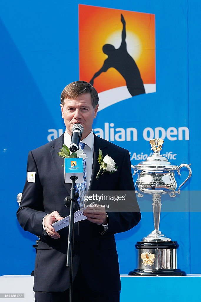 President of Tennis Australia Stephen Healy speaks during the Australian Open Trophies Tour at The Beijing University on October 20, 2012 in Beijing, China.
