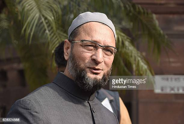 President of the All India MajliseIttehadul Muslimeen and Lok Sabha MP Asaduddin Owaisi during the Parliament Winter Session at Parliament House on...