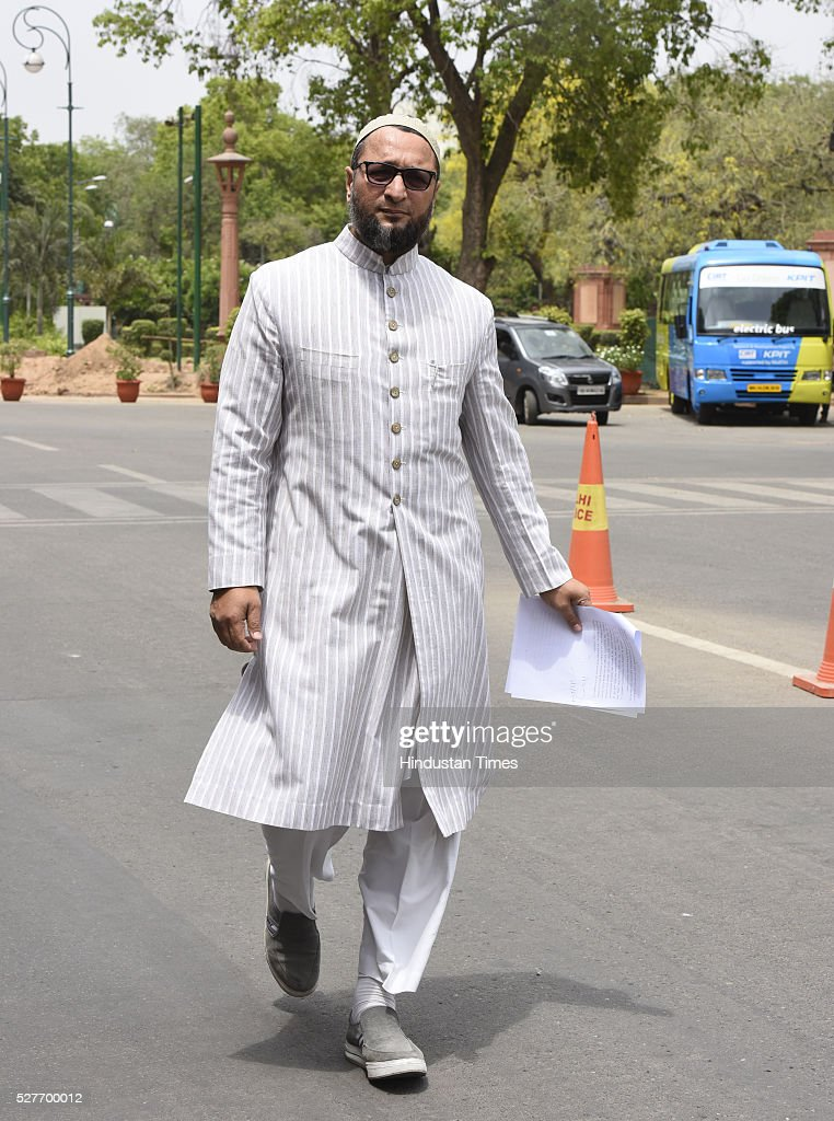 President of the All India Majlis-e-Ittehadul Muslimeen and three-time Member of Parliament, Hyderabad constituency in Lok Sabha Asaduddin Owaisi leave after attending parliament Session on May 3, 2016 in New Delhi, India. With the BJP mounting an offensive against Congress vice-president on the AgustaWestland VVIP chopper bribery case, Rahul Gandhi on Wednesday said he is happy to be targeted.