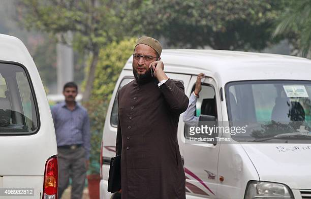 President of the All India MajliseIttehadul Muslimeen Asaduddin Owaisi at the Parliament during the winter session on November 27 2015 in New Delhi...