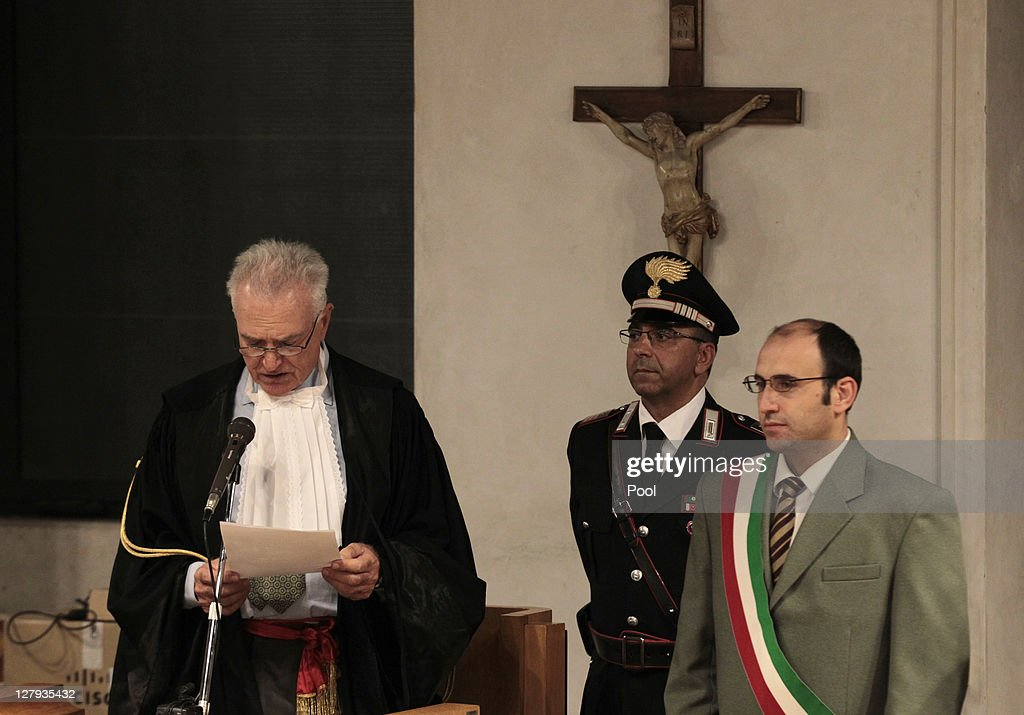 President of the appeal court Claudio Pratillo Hellmann reads the verdict during the appeal trial session at the Perugia court on October 3, 2011 in Perugia, Italy. American student Amanda Knox and her Italian ex-boyfriend Raffaele Sollecito have won their appeal against their conviction in 2009 of killing their British roommate Meredith Kercher in Perugia, Italy in 2007. The pair had served nearly four years in jail after initially being sentenced to 26 and 25 years respectively.