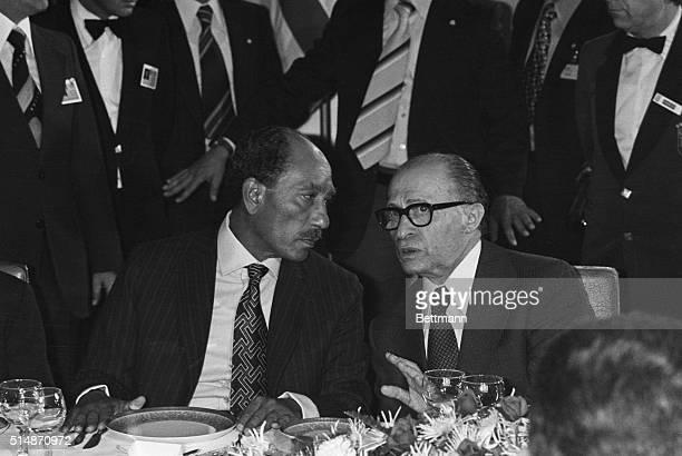 President of the Arab Republic of Egypt Anwar elSadat and Israeli Prime Minister Menachem Begin at a dinner at the King David Hotel on Nov 20th 1977...