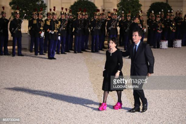 President of the Arab World Institute in Paris and former French Culture minister Jack Lang and his wife Monique Buczynski arrive for a state dinner...