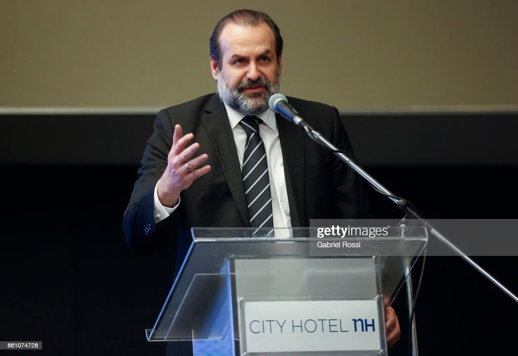 President of the Argentine Basketball Federation (CABB) Federico Susbielles speaks during the final presentation of Argentina-Uruguay Candidacy For FIBA World Cup 2023 at NH Hotel on October 12, 2017 in Buenos Aires, Argentina.