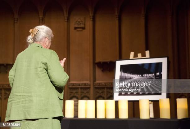 President of the Association of the Mothers of Srebrenica and Zepa Enclaves Munira Subasic prays by the eleven candles during a commemoration...