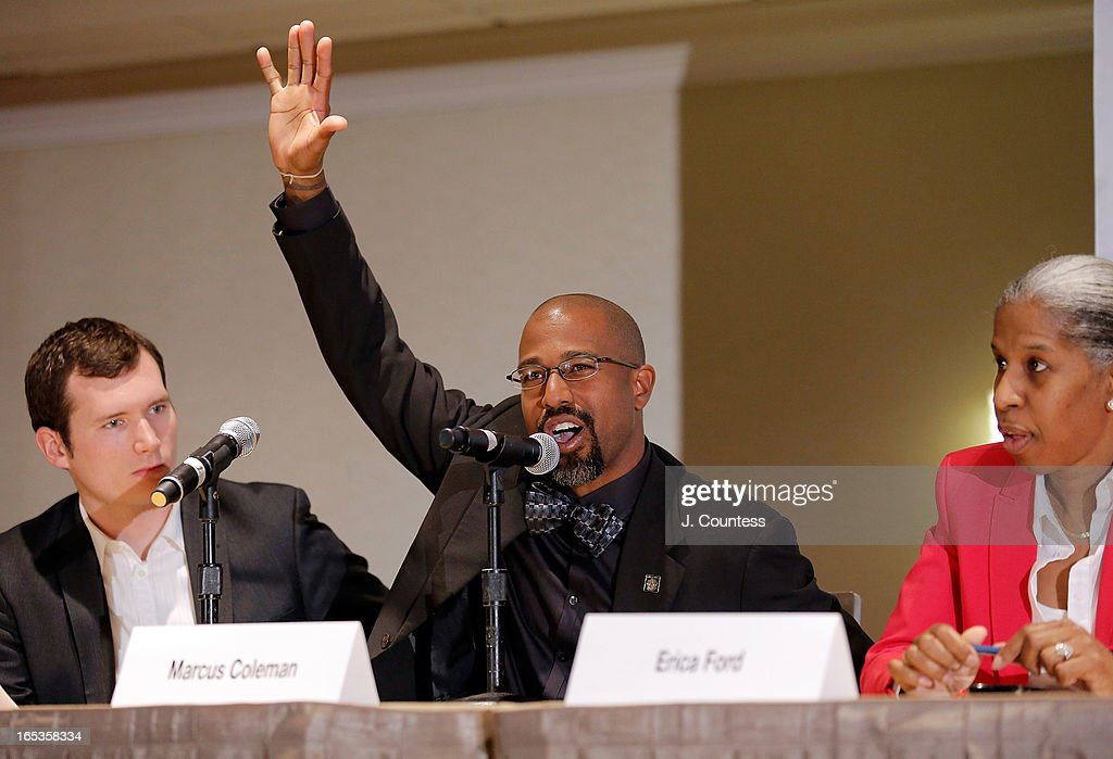 President of the Atlanta Chapter of the National Action Network <a gi-track='captionPersonalityLinkClicked' href=/galleries/search?phrase=Marcus+Coleman&family=editorial&specificpeople=234454 ng-click='$event.stopPropagation()'>Marcus Coleman</a> speaks during the panal 'Gun Violence: Addressing Real Reform' during the 2013 NAN National Convention Day 1 at New York Sheraton Hotel & Tower on April 3, 2013 in New York City.