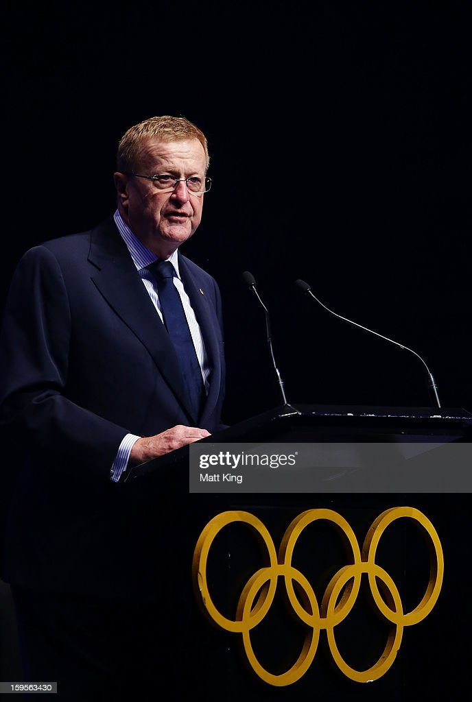 President of the Australian Olympic Committee <a gi-track='captionPersonalityLinkClicked' href=/galleries/search?phrase=John+Coates&family=editorial&specificpeople=233445 ng-click='$event.stopPropagation()'>John Coates</a> speaks at the Australian Youth Olympic Festival Opening Ceremony during day one of the 2013 Australian Youth Olympic Festival at Sydney Entertainment Centre on January 16, 2013 in Sydney, Australia.