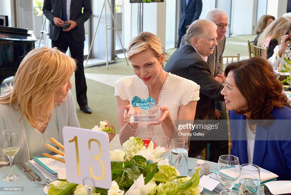 President of The Blue Ribbon Julie Goldsmith Her Serene Highness Princess Charlene of Monaco and Former United States Secretary of Labor Hilda Solis...