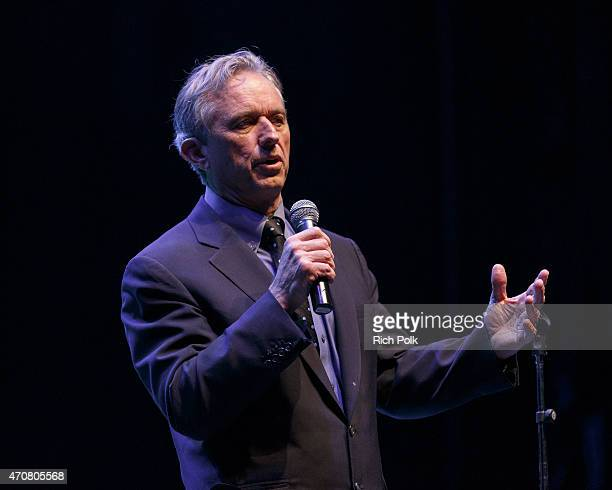 President of the Board of the Waterkeeper Alliance Robert F Kennedy Jr speaks on stage at the Keep It Clean To Benefit Waterkeeper Alliance Live...