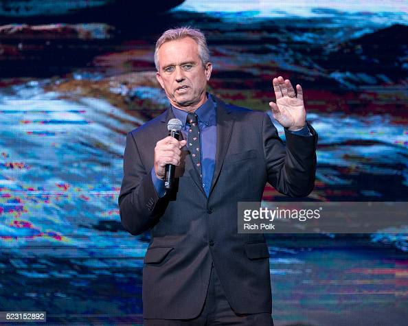 President of the Board of Waterkeeper Alliance Robert F Kennedy Jr speaks on stage at the Keep It Clean Comedy Benefit for Waterkeeper Alliance at...