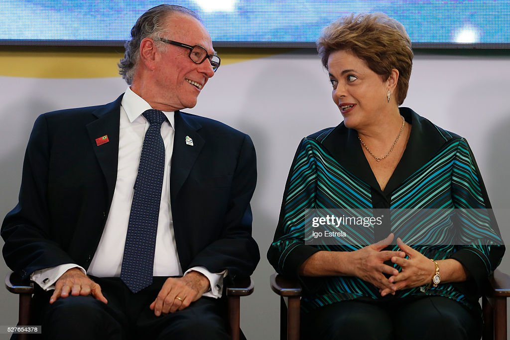 President of the Brazilian Olympic Committee Carlos Nuzman and President of Brazil Dilma Rousseff attend a ceremony where the pyre and the Olympic torch are lit to start the relay at the Planalto Palace on May 3, 2016 in Brasilia, Brazil. The Olympic torch will pass through 329 cities from all states in Brazil before arriving in Rio de Janeiro on August 5, for the lighting of the cauldron.
