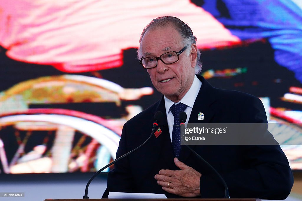 President of the Brazilian Olympic Committee Carlos Nuzman speaks at a ceremony where the pyre and the Olympic torch are lit to start the relay at the Planalto Palace on May 3, 2016 in Brasilia, Brazil. The Olympic torch will pass through 329 cities from all states in Brazil before arriving in Rio de Janeiro on August 5, for the lighting of the cauldron.