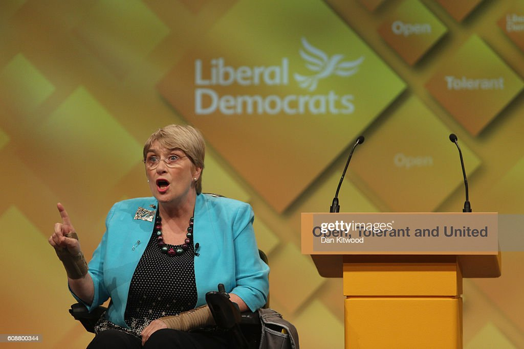 President of the British Liberal Democrats Baroness Brinton speaks to delegates during the final day of the Liberal Democrat conference on September 20, 2016 in Brighton, England. The party leader Tim Farron will deliver his final speech later today when he will announce that one of his party's key pledges would be to raise taxes to fund shortfalls in the NHS.