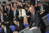 President of the Bundestag Norbert Lammert delivers a speech during a joint session of the French National Assembly and the Bundestag at the German...