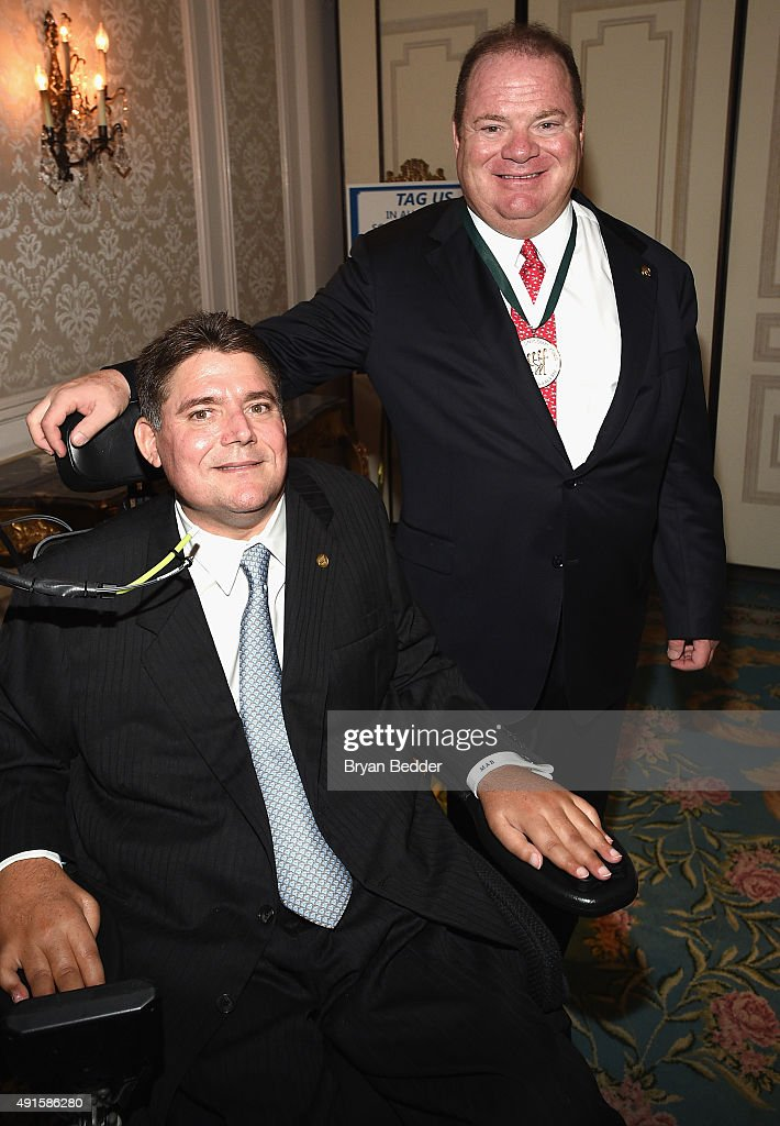 President of The Buoniconti Fund, Marc Buoniconti (L) and former racing driver Chip Ganassi attend the 30th Annual Great Sports Legends Dinner to benefit The Buoniconti Fund to Cure Paralysis at The Waldorf Astoria on October 6, 2015 in New York City.