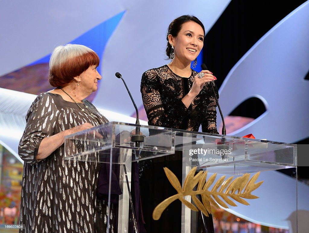 President of the Camera d'Or jury Agnes Varda (R) and 'Un Certain Regard' jury member Zhang Ziyi (R) on stage during the Closing Ceremony during the 66th Annual Cannes Film Festival at the Palais des Festivals on May 26, 2013 in Cannes, France.