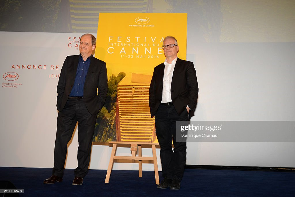 President of The Cannes Film Festival <a gi-track='captionPersonalityLinkClicked' href=/galleries/search?phrase=Pierre+Lescure&family=editorial&specificpeople=2080014 ng-click='$event.stopPropagation()'>Pierre Lescure</a> and General Delegate <a gi-track='captionPersonalityLinkClicked' href=/galleries/search?phrase=Thierry+Fremaux&family=editorial&specificpeople=618039 ng-click='$event.stopPropagation()'>Thierry Fremaux</a> attend The 69th Cannes Film Festival Official Selection Presentation at Cinema UGC Normandie on April 14, 2016 in Paris, France.