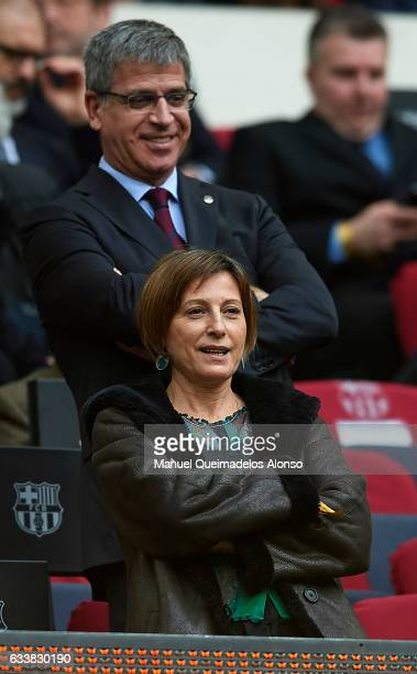 President of the Catalan parliament Carme Forcadell attends the La Liga match between FC Barcelona and Athletic Club at Camp Nou Stadium on February...