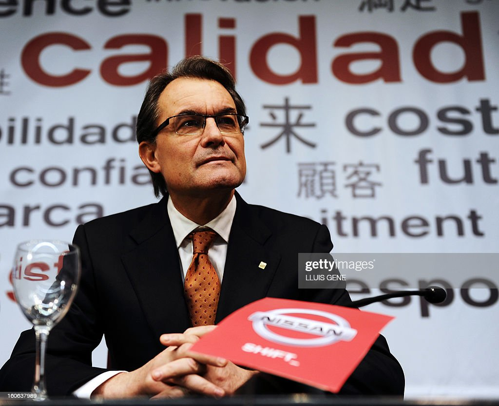 President of the Catalan regional government and leader of the Catalan party CIU (Convergence and Unity party) Artur Mas attends the announcement of an agreement on the production a new car at Nissan's factory in Barcelona on February 4, 2013. Nissan will make a new car model at its Barcelona factory, which will create 1,000 jobs and bring in 130 million euros (178 million USD) of new investment, Spanish media reported.