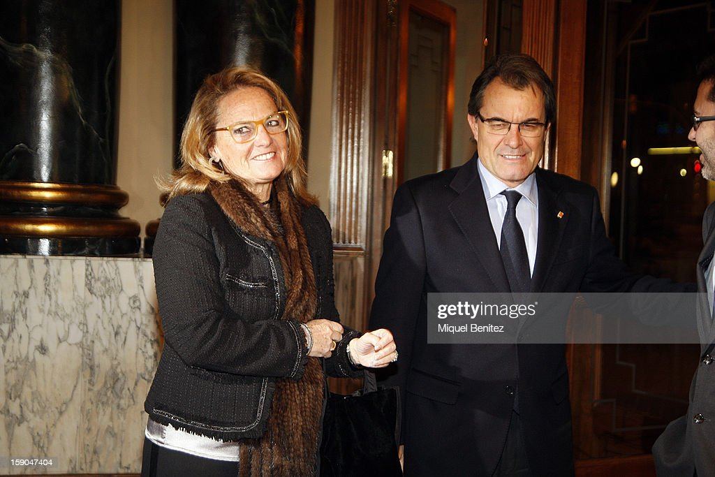 President of the Catalan regional government Artur Mas (R) and Helena Rakosnik attend the 69th Nadal literature award on January 6, 2013 in Barcelona, Spain.